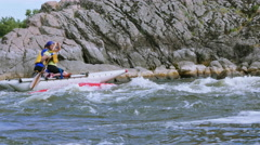 People on  boat and kayak  rafting and  turn over. 4K 3840x2160 - stock footage