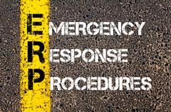 Concept image of Business Acronym ERP as Emergency Response Procedures  - stock photo