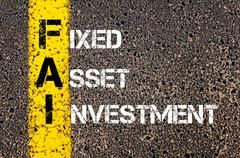 Stock Photo of Concept image of Business Acronym FAI as Fixed Asset Investment