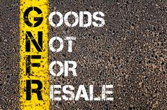 Concept image of Business Acronym GNFR as Goods Not For Resale - stock photo