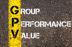 Concept image of Business Acronym GPV as Group Performance Value - stock photo