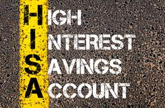 Concept image of Business Acronym HISA as High Interest Savings Account - stock photo