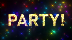 Looping PARTY! Marquee over Glitter Multicolored Star Background Stock Footage