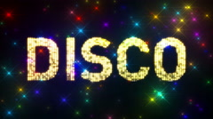 Looping DISCO Marquee over Glitter Multicolored Star Background Stock Footage