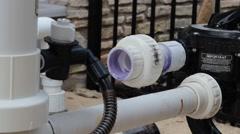 Pool pvc pipe leaking water. Stock Footage