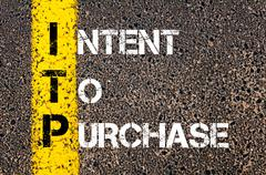 Concept image of Business Acronym ITP as Intent To Purchase - stock photo