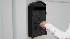 Woman unlock mailbox, letters, envelope, hand, correspondence close up Stock Footage