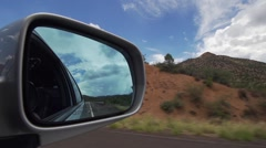 Looking into Car Side Mirror While Driving, camera in the mirror Stock Footage