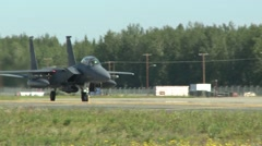 Northern Edge Aircraft Maintainers F-15 Eagle taxing Stock Footage