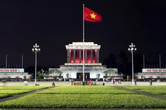 Ho Shi Minh Mausoleum in Hanoi, Vietnam - stock photo