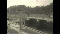 Vintage 16mm film, 1927, Panama minaflores locks Stock Footage