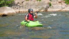 Adult man  kayaker  on boat ( kayak) rafting . 4K 3840x2160 Rafting team - stock footage
