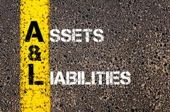 Concept image of Business Acronym AL as Assets and Liabilities  Stock Photos