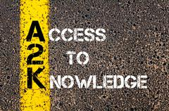 Concept image of Business Acronym A2K as Access To Knowledge - stock photo