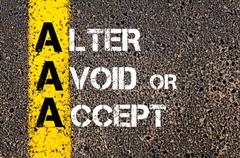 Concept image of Business Acronym AAA as Alter Avoid or Accept  Stock Photos