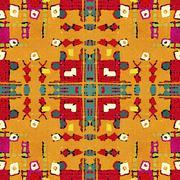 Multicolored Tribal Geometric Seamless Pattern Stock Illustration