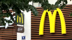 Detail of sign McDonald's on the building Stock Footage