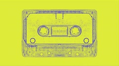 Vj Loop Art Cassette Audio Tape Background Visual - stock footage