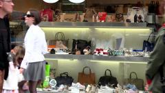 shop window - urban street with walking people - stock footage