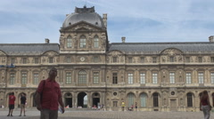 Louvre museum in Paris France, courtyard, architecture french monument, landmark Stock Footage