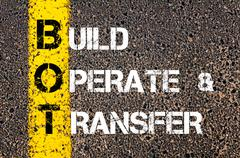 Concept image of Business Acronym BPT as Build Operate and Transfer  - stock photo