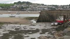 View Across River Torridge at Low Tide in Instow towards Appledore in North D Stock Footage