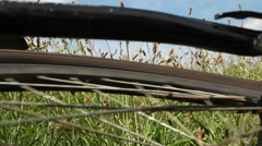 Mountain bike after fall - spinning rear wheel Stock Footage