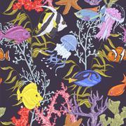 Sea life seamless background, underwater vector illustration Stock Illustration