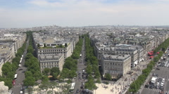 Aerial view of Champs-Elysees world famous boulevard, parisian car traffic view Stock Footage