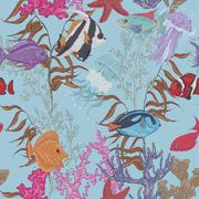 Blue sea life seamless background, underwater vector illustration Stock Illustration