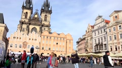 Old Town Square with people - old buildings and Church the Our Lady before Tyn - stock footage