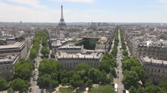 Paris seen from Arch of Triumph, Eiffle tower, champs-elysees, french cityscape Stock Footage