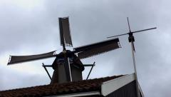 Old windmill, working at full capacity Stock Footage