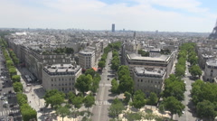 Paris streets seen from above, Champs Elysees car traffic, french architecture Stock Footage