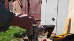 Carpenter at work with jigsaw Stock Footage