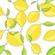 Yellow lemon fruits with leaf on branch white background. Citrus seamless vector - stock illustration