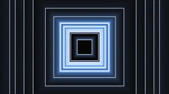 VJ Loop Animation Neon Square Tunnel Art Background Blue Visual Stock Footage