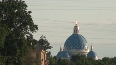 Russia Saint-Petersburg 2015 Fontanka river and cathedral zoom out Stock Footage