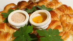 Dipping in traditional bulgarian homemade bread with salt and honey - stock footage
