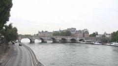 Romantic Paris cityscape Pont Neuf bridge, Seine river, Ile de la Cite, travel Stock Footage