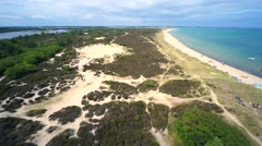 Aerial view over English beach Stock Footage