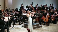 Stock Video Footage of Symphonic Concerto for Violin and Orchestra.