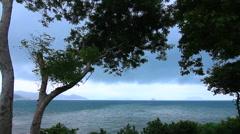 Beautiful Island View Trees Sea Ocean Islands Sky Clouds Tropical - stock footage