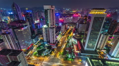 Shenzhen night street from rooftop. Timelapse Stock Footage