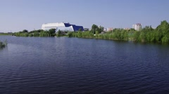 Surgut, park Across the Saima - view of the Surgut State University Stock Footage