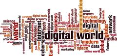 Digital world word cloud - stock illustration
