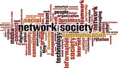 Network society word cloud - stock illustration