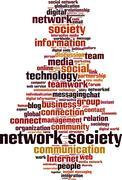 Network society word cloud - stock illustration