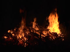 Large Fire Burning at Night Stock Footage
