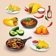 Mexican food. Objects set Stock Illustration